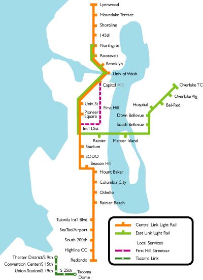 Seattle Train Map Seattle Metro map Seattle Train Map